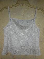Eva Cervantes White Stretch Lace Camisole Top, Pajama Top,  Sz M