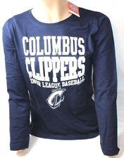 MILB Columbus Clippers Women's Long Sleeve Tee T Shirt Soft as a Grape Navy New