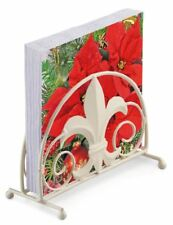 POINSETTIA CHRISTMAS 20 X 3 PLY PAPER NAPKINS & FLEUR DE LYS NAPKIN HOLDER SET