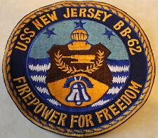 "USS New Jersey BB-62 Battleship Big ""J"" Firepower for Freedom Navy Patch"
