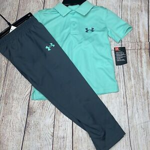 Under Armour 4 5 6 7 Turquoise Polo Golf Dress Pants Outfit Set NEW