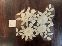 Cream and Antique Gold Floral Embroidered Tulle  Appliqué Lace Pieces Sew On 6