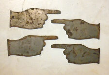 """Lot of 4 Pointing Hand Shapes Arrows 3"""" Steampunk Rusty Metal Vintage Craft Sign"""