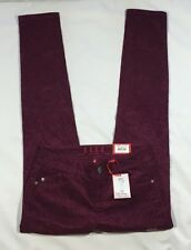 NWT Women's Elle Red Wine Paisley Corduroy Super Skinny Pants-Size 4
