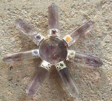 Pirámide de Amatista Púrpura Natural con 7 puntos de generador de energía ~ CHAKRA DE CRISTAL