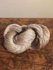 Natural Tan Grey Linen Yarn, 6 Ply, Knitting, Weaving, Crochet, 100 Gram Skein
