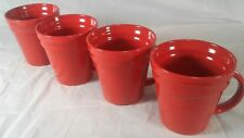 4 Piece Set Coffee Cups Rachael Ray Double Ridge Bright Red Dinnerware