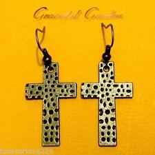 ER2784 Graceful Garden Vintage Style Bronze Tone Cross Charm Dangle Earrings
