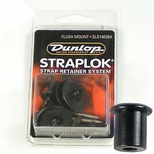 Dunlop 'Straplok' Strap locks/lock set, Flush Mount Black, SLS1403BK
