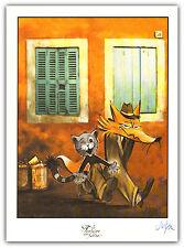 Affiche DEGRUEL  Folle Image La Fontaine Le chat et le renard ex signé 24x33