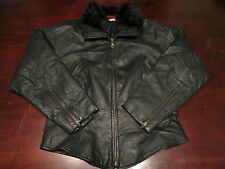Vintage Womens Sherpa Collar Leather Jacket Sz M Motorcycle Cafe Racer Coat