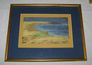 "FINE VINTAGE ""MAINE COAST"" PASTEL ON SANDPAPER DRAWING"