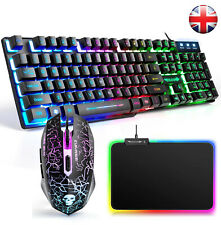 【UK Layout】Rainbow Backlit Usb Gaming Keyboard Mouse Combo + RGB Mouse Pad