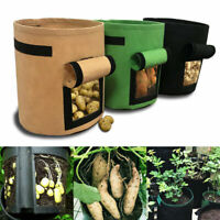 Potato Grow Planter Container Bag Pouch Root Plant Growing Pot Side Window JS UK