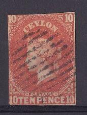 DB200) Ceylon 1857  10d Dull Vermilion, imperf. SG9