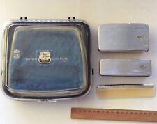 Vintage Men's Vanity Set 3 Brushes Comb Silver Tone Boxed Saville Fifth Avenue