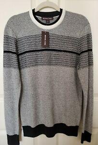 NWT Michael Kors Mens Crew Neck Cotton/Wool Textured Sweater Small Black White