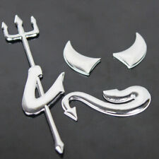 Car Auto Emblem Silver 3D Fork Devil Demon Logo Graphics Decal Car Sticker sq