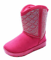 GIRLS PINK DIAMANTE KIDS SNUGG FLAT WARM CALF CHILDRENS BOOTS SHOES SIZES 10-2
