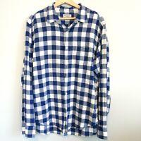 J Crew Linen Blend Gingham Check Plaid Button Up Shirt Men's Large Blue 78071