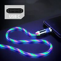 LED Glow Flowing Magnetic Charger Cable Luminous Lighting Fast Charging Micro US