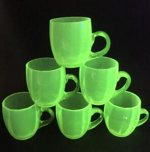 X6 Vintage Antique Opalescent Green Glass Punch Cups Vaseline Uranium