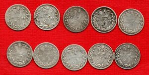10 X QUEEN VICTORIA YOUNG HEAD, SILVER THREEPENCE COINS. 1871 - 1886. JOB LOT.