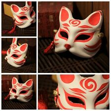 Red Japan NOHTraditional Fox Kitsune Omen Mask Handmade Cosplay Party Costume