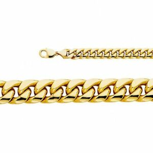 Big Hollow 14K Yellow Gold Miami Cuban Curb Chain Necklace Pendant Genuine Heavy