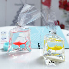 2 Dollhouse Miniature Gold Fish in Water Bag 1:12 DIY Accessory Earring Pendant
