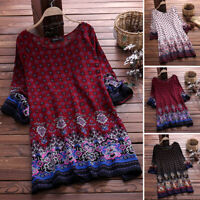 US STOCK Women Long Sleeve Mini Shirt Dress Hippie Tops Tee Blouse T-Shirt Plus