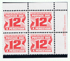 Canada #J36a(31) 1969 12 cent  POSTAGE DUE Upper Right Plate Blk DF MNH CV$15.00