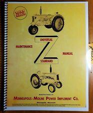 Minneapolis Moline Model Z Universal Standard Tractor Maintenance Manual 1937