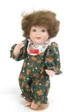 Vintage Narco Poseable Porcelain Doll Teddy Bear Pajamas Brown Brunette Hair