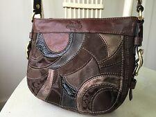COACH Petite Zoe Brown Mosaic Patchwork Leather Hobo Evening Handbag #41886 GUC
