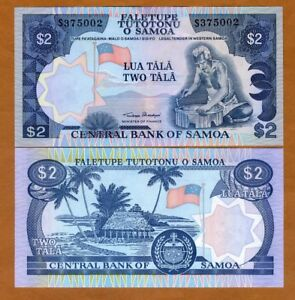 Western Samoa, 2 Tala, (1985), P-25, UNC > Woodcarver, official reprint