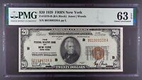 Series 1929 $20 Federal Reserve Bank of New York Banknote, PMG CU-63 EPQ.