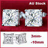 9K WHITE GOLD GF SILVER SQUARE CT LAB DIAMOND MEN WOMEN KIDS SOLID STUD EARRINGS