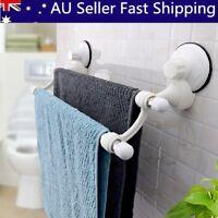 Bathroom Kitchen Suction Cup Double Towel Rack Rail Wall Mount Hanger Bar Holder