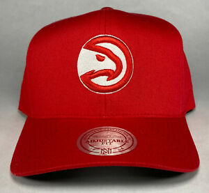 Mitchell and Ness NBA Atlanta Hawks Red and White 110 Flexfit Snapback Hat