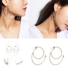 Wholesale Elegant Women Stainless Steel Geometric Circle Hoop Dangle Earrings