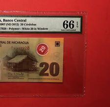 2007 (ND 2012 )NICARAGUA -20 CORDOBAS  GRADED BY PMG Gem UNC 66 EPQ