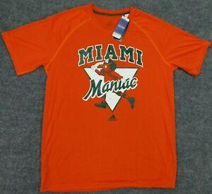 NWT ADIDAS T-Shirt Miami Hurricanes Orange Maniac Mascot Baseball Ultimate Tee L