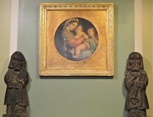 "Atq Raphael's ""Madonna of the Chair"" Print O/B Florence Italy 19"" x 19"" Framed"