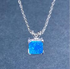 Gemstone Silver Necklace Pendant With Chain European Square 8Mm Blue Fire Opal