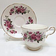 Queen Ann Bone China TEACUP & SAUCER Roses & Lilacs England