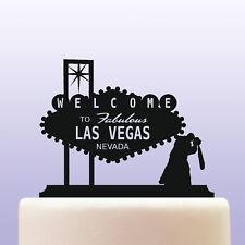 Las Vegas Bride and Groom Acrylic Wedding Cake Topper Keepsake Souvenir Gift