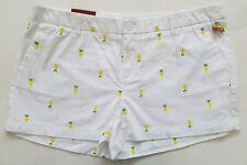 Merona Women's Shorts Embroidered White Lemon Chino 3 inch Size 16 NEW