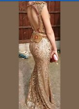 stunning Handmade Embellished Prom Dress size 8-10 unique unusual gold and red