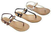 WHOLESALE LOT Women's Gladiator Sandals T-strap metal band Flat 24 Pairs--8083